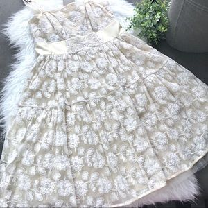 Anthropologie Dresses - Gorgeous Anthropologie Cream Lace Summer Dress